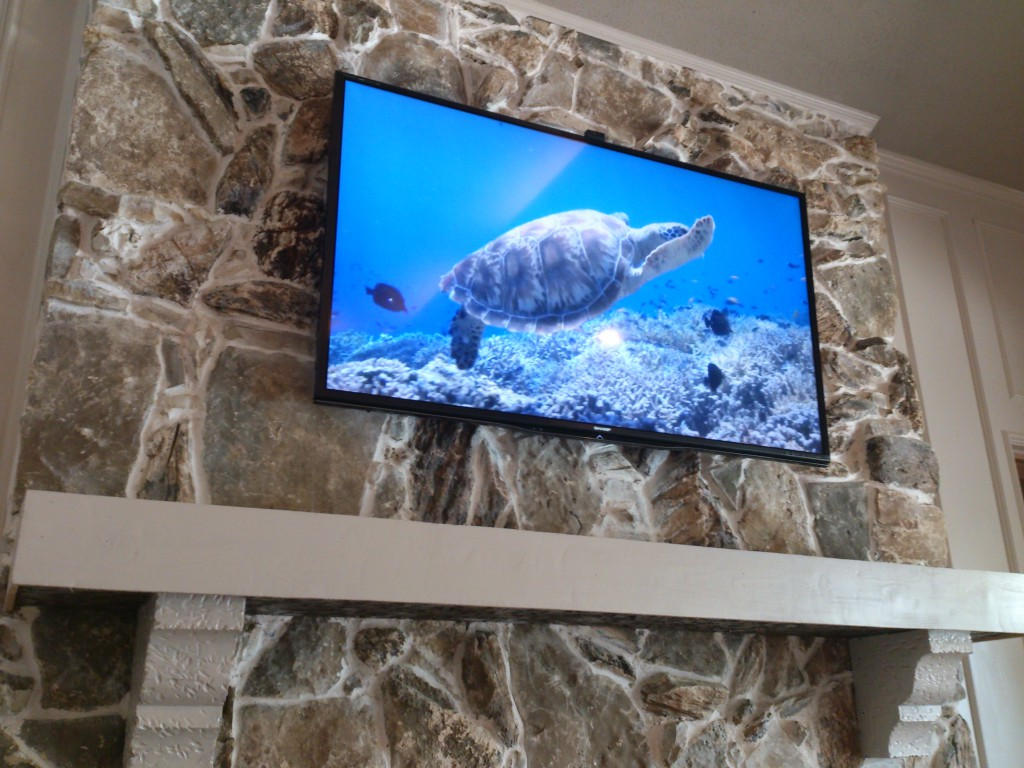 Rock Fireplace TV Install Dallas, TX