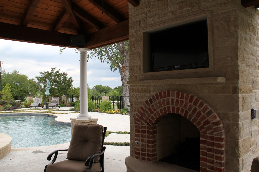 Outdoor Weatherproof Fireplace TV Installation in Dallas-area Sachse, TX